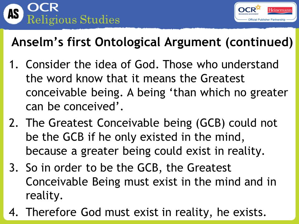 the anselm ontological argument philosophy essay Ontological argument, argument that proceeds from the idea of god to the reality  of god it was first clearly formulated by st anselm in his proslogion (1077–78).