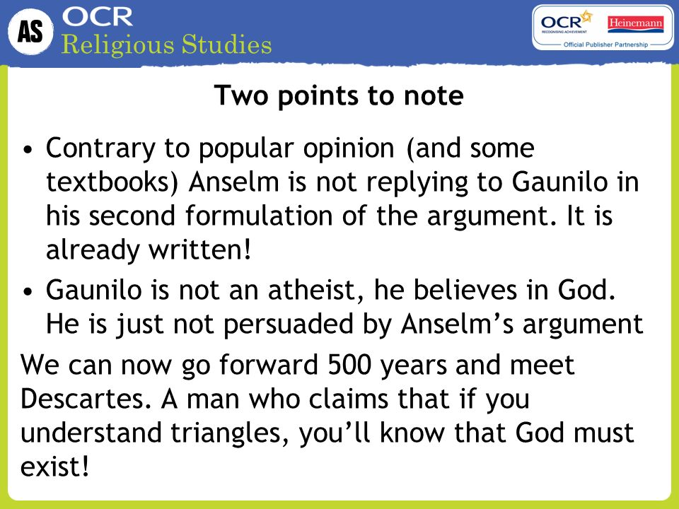explain how descartes developed anselm's argument As philosophy of religion essay marked a low a grade for part a and a high b for part b part a question = explain how descartes developed anselm's argument that god's existence is necessary (25 marks.