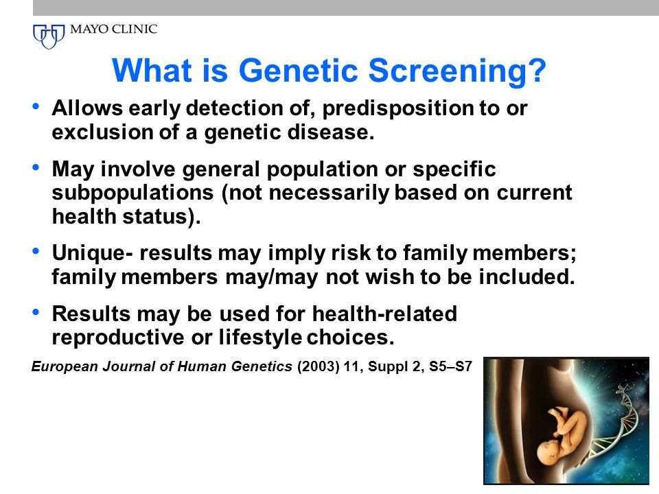 genetic screening Learn about genetic testing for brca1 and brca2 mutations who should consider testing what are the risks and benefits of testing.