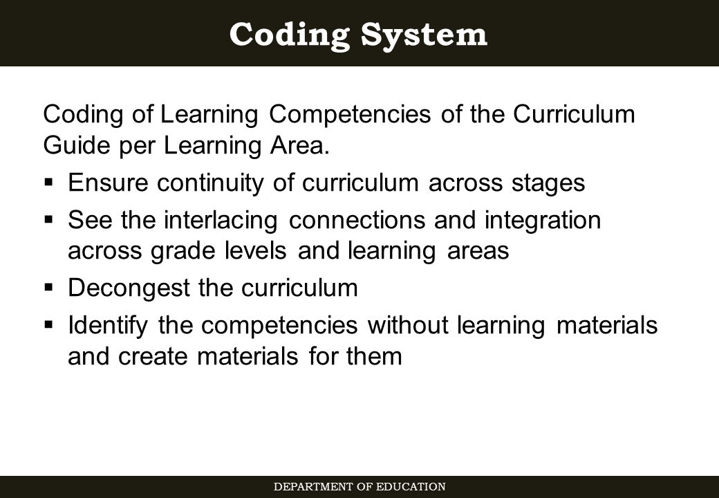 department of education curriculum guide