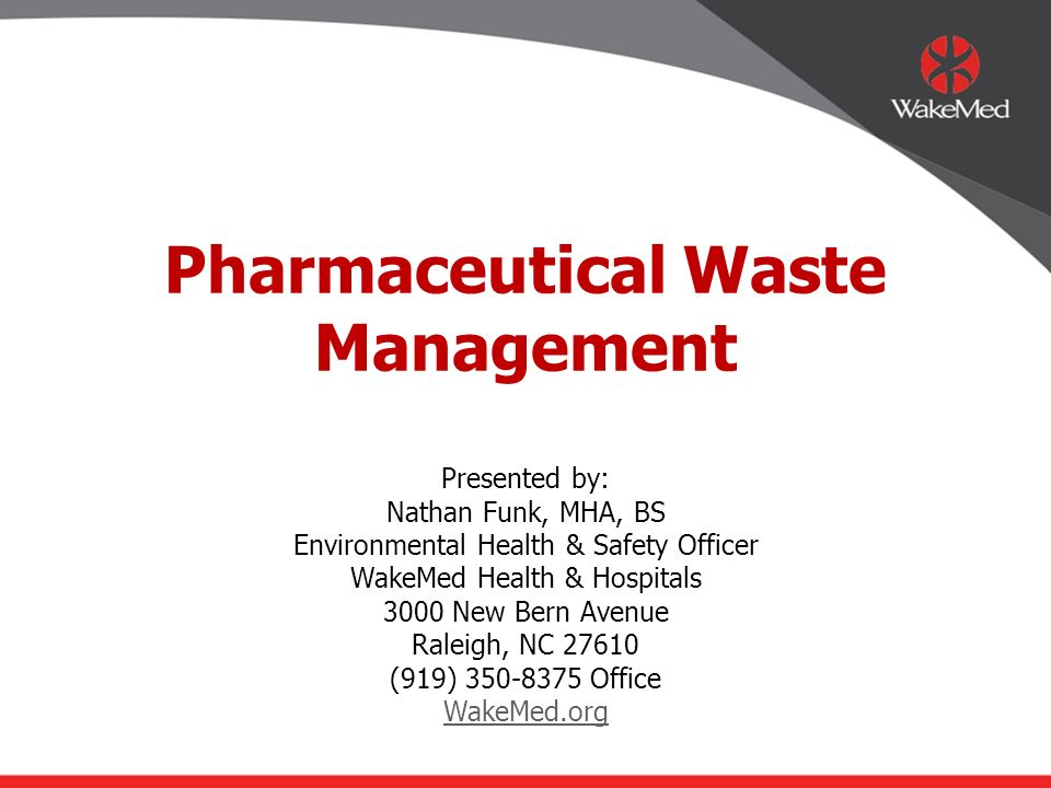 Pharmaceutical Waste Management Ppt Video Online Download