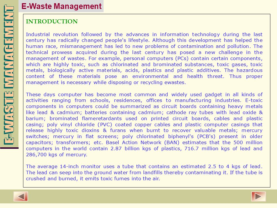 introduction to waste management The issue of biomedical waste management has assumed great significance in recent times particularly in view of the rapid upsurge of hiv infection government of india has made proper handling and disposal of this category of waste a statutory requirement with the publication of gazette notification.