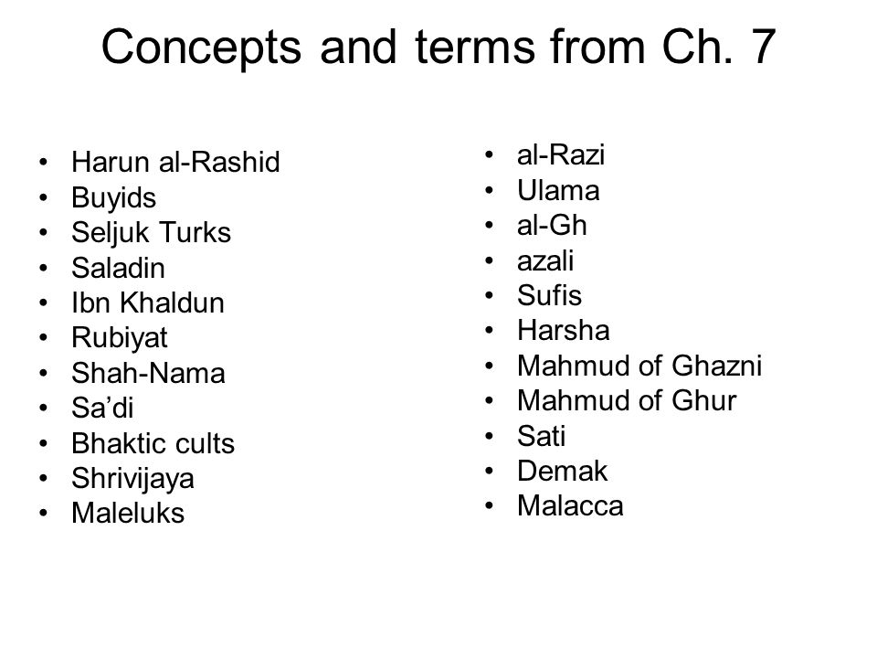 Concepts and terms from Ch. 7