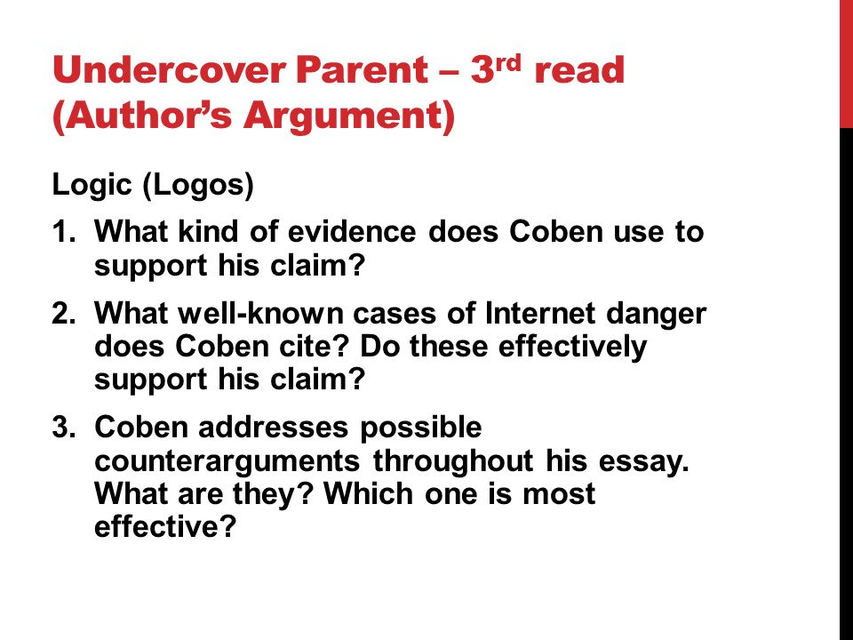 the undercover parent coben s argument The undercover parent by harlan coben nytimescom, march 16, 2008 1 not long ago 10 one of the most popular arguments against spyware is the claim that you are reading your teenager's every thought, that in today's world.