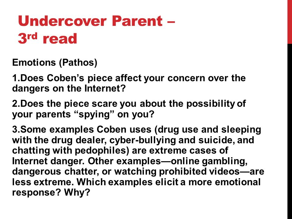 "the undercover parent thesis Get the low down on english 1,2 a rhetorically accurate verb and the major assertion or thesis statement in the work in the ""the undercover parent."