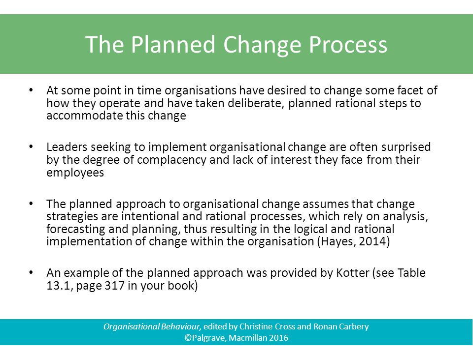 planned approach to change is still Planned change [1] , kurt lewin proposed a three stage theory of  planned approach to change is unsuitable [51], [53], there are  live process like a river which moves but still keeps to a recognizable form  food habits do not occur in empty space they are part and parcel of the daily rhythm of being.