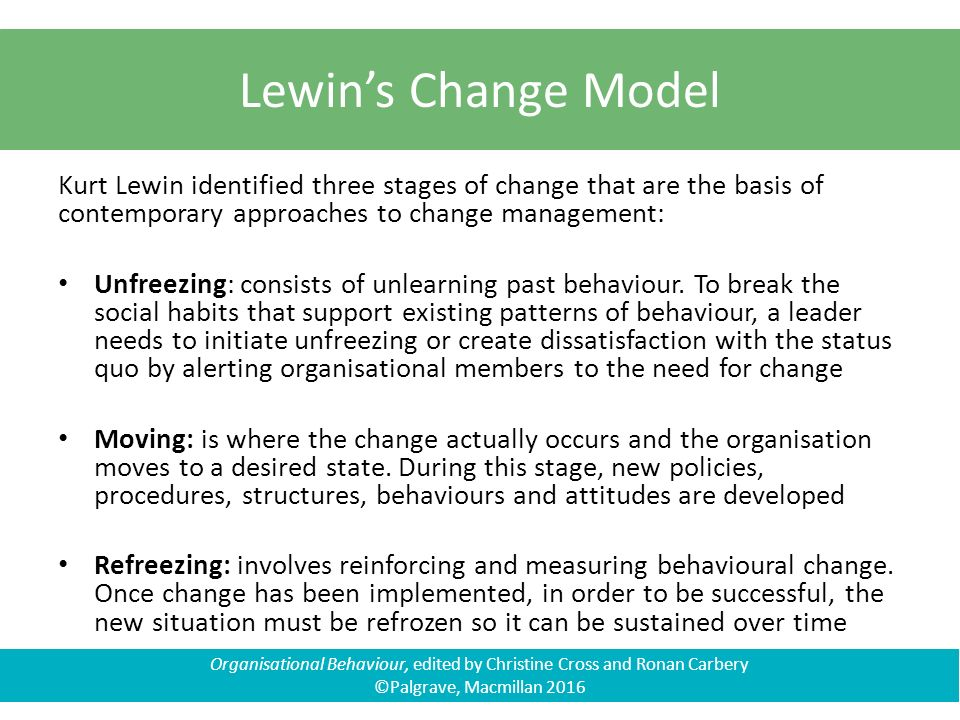 the kurt lewin of change management Burnes, b kurt lewin and the planned approach to change: a re-appraisal 2004 - journal of management studies.