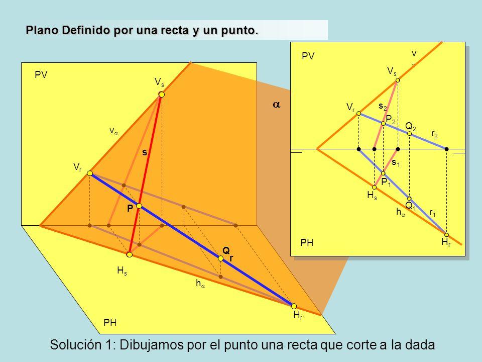 Solución 1: Dibujamos por el punto una recta que corte a la dada