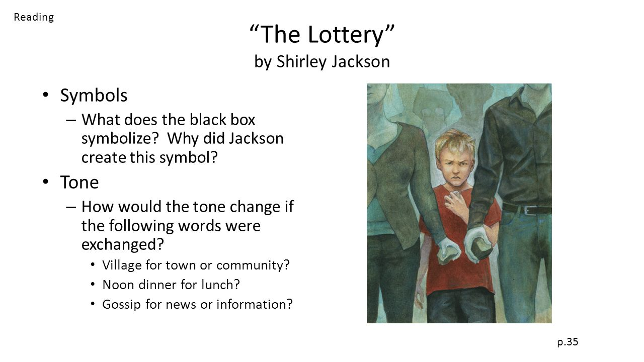 studying the lottery by shirley jackson Answer to 'the lottery by shirley jackson answer to these questions please 1 were you surprised by the ending of the story if.