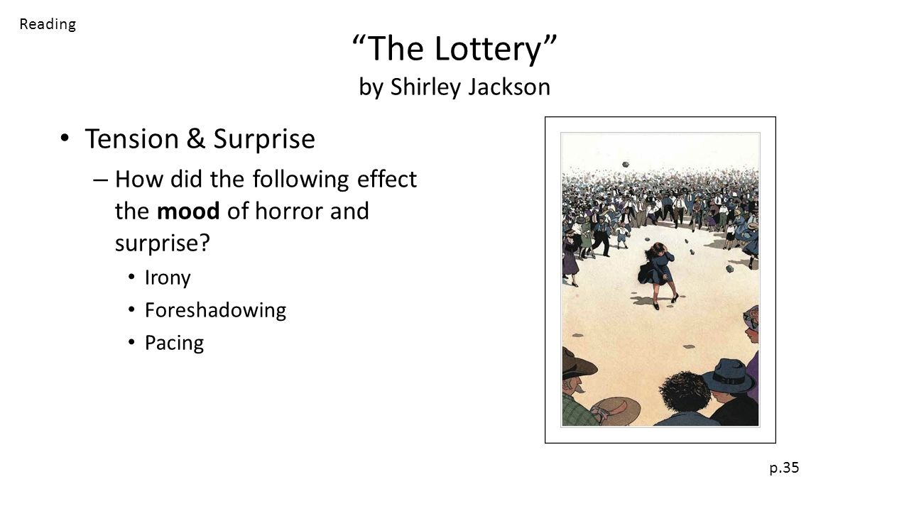 the irony in shirley jacksons novel the lottery 9--shirley jackson, the short-story writer and novelist, died at her home here   miss jackson was widely known as the author of the lottery, a short  she  was a master of complexity of mood, an ironic explorer of the dark,.