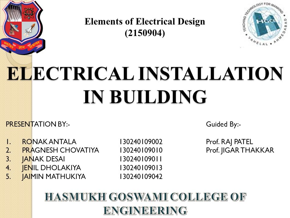 ELECTRICAL INSTALLATION IN BUILDING - ppt video online download