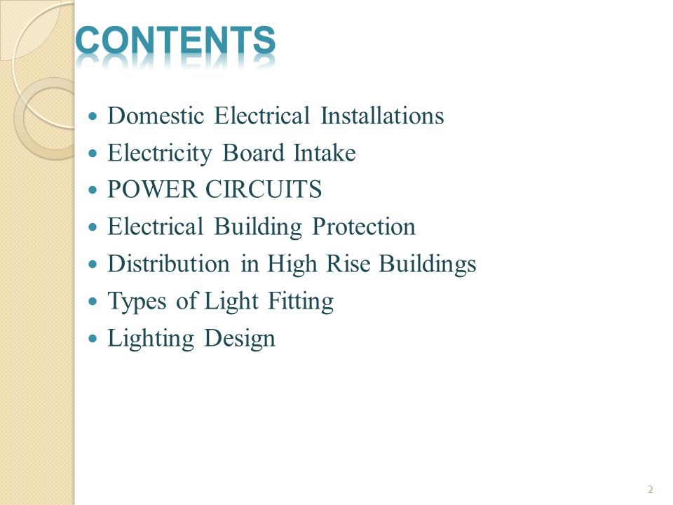 Contents Domestic Electrical Installations Electricity Board Intake