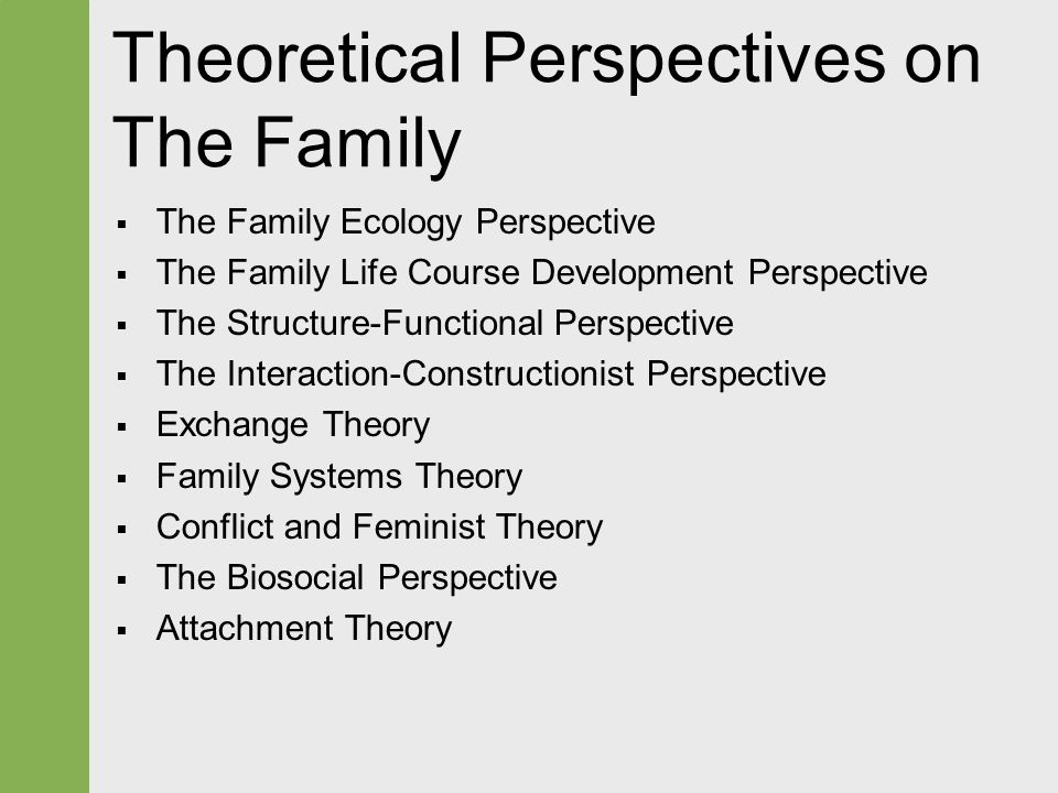 theoretical perspectives on the family Get an answer for 'how are marriage and family viewed from the three sociological perspectives' and find homework help for other social sciences questions at enotes.