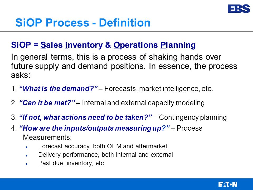 Eaton Business System Supply Chain Transferable Practices