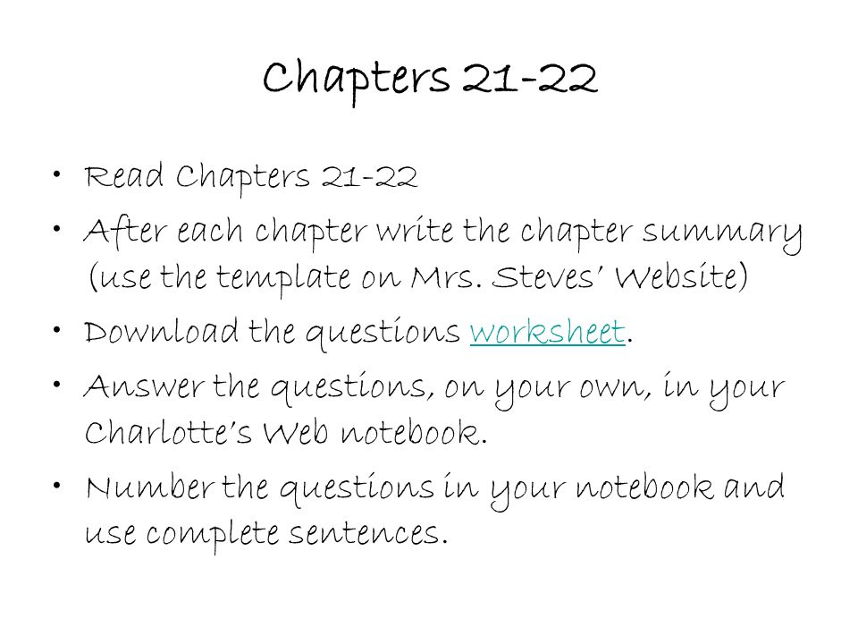 Charlottes Web By EB White ppt video online download – Chapter Summary Template