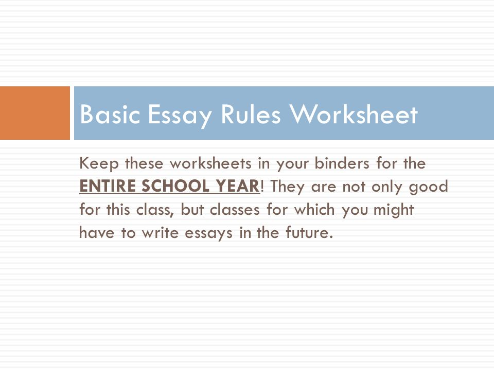 "basic essay rules Basic essay ruleswriting excellent essays rule two rule one do not use ""the"" to begin more than."