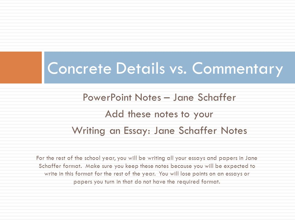 Concrete detail commentary essay