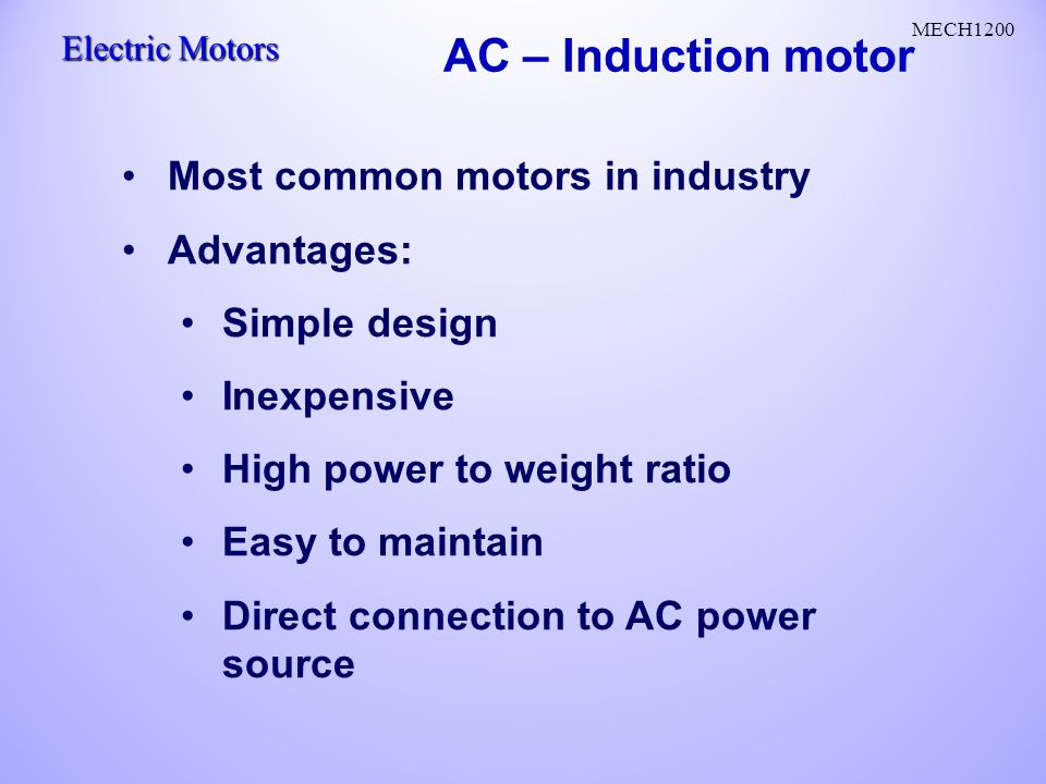 Squirrel cage induction motor advantages for Advantages of ac motor