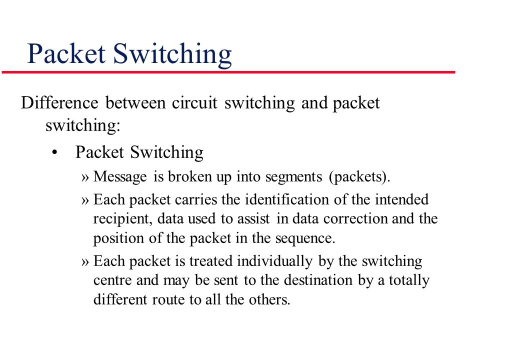packet switching vs circuit switching Circuit switching establishes fixed bandwidth circuits/channels between nodes and terminals before the users may communicate packet switching is a communication method in which packets are routed.