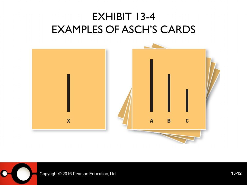 Exhibit 13-4 Examples of Asch's Cards