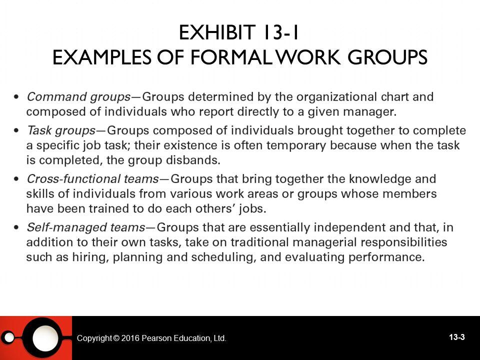 Exhibit 13-1 Examples of Formal Work Groups