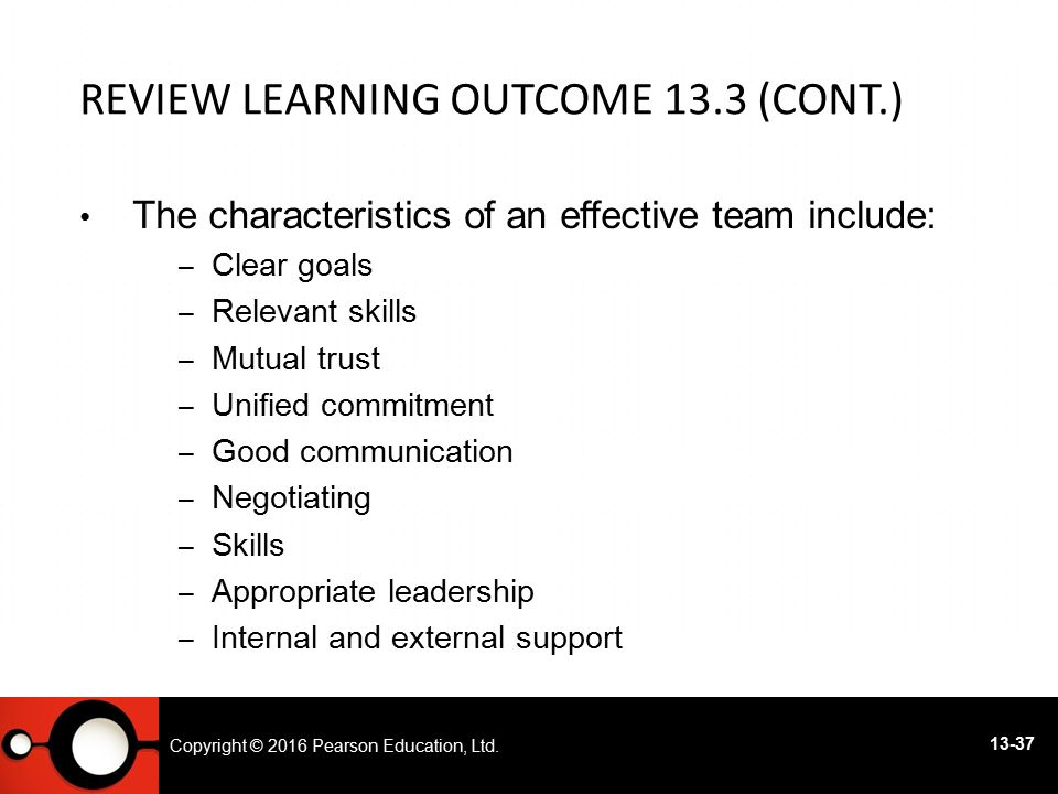 Review Learning Outcome 13.3 (cont.)