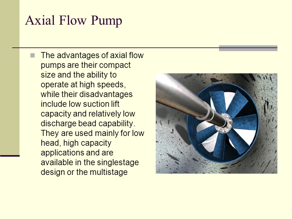 Axial Flow Pump Design : Objective what is pump application of classification
