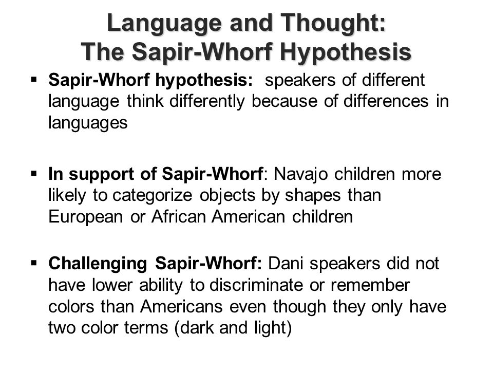the sapir-whorf thesis postulates that Though the name suggests that two individuals postulated the same theory in  conjunction, the sapir-whorf hypothesis is the combination of two.