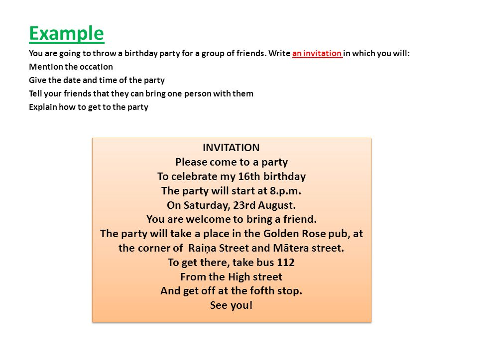 Writing exam writing tasks ppt video online download 5 example invitation please come to a party stopboris Choice Image