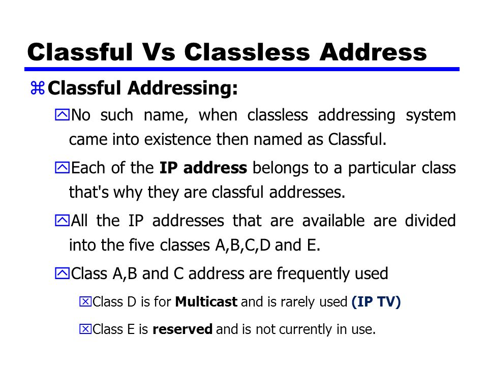 how to know which ip address belongs to which class