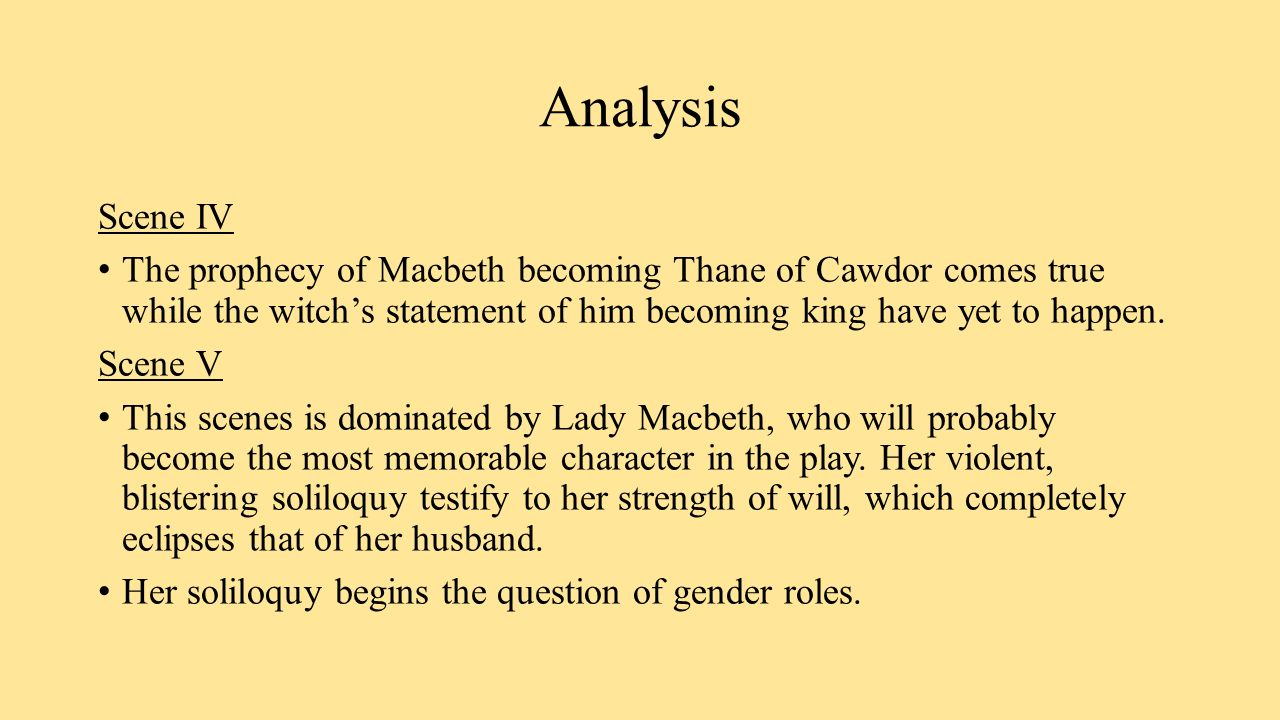 an analysis on lady macbeth s role This theme of the relationship between gender and power is key to lady macbeth's character: lady macbeth manipulates her husband take the analysis of major.
