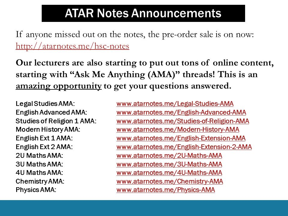 ATAR Notes Announcements