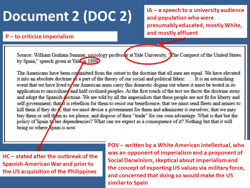 Document 2 (DOC 2) IA – a speech to a university audience and population who were presumably educated, mostly White, and mostly affluent.