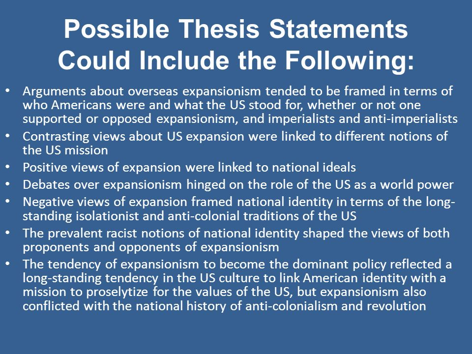 United states and evidence possible thesis