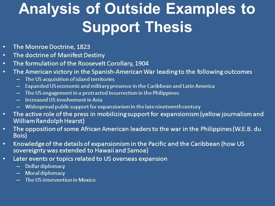 Analysis of Outside Examples to Support Thesis