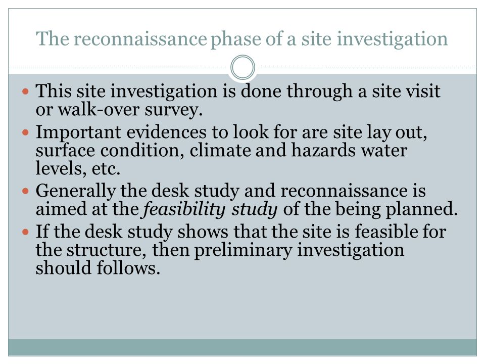 The reconnaissance phase of a site investigation