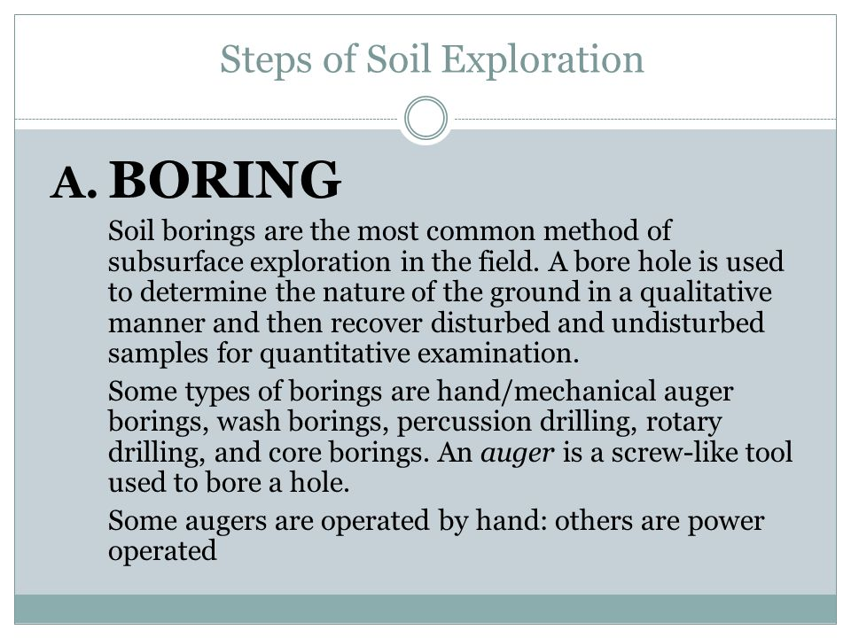 Steps of Soil Exploration