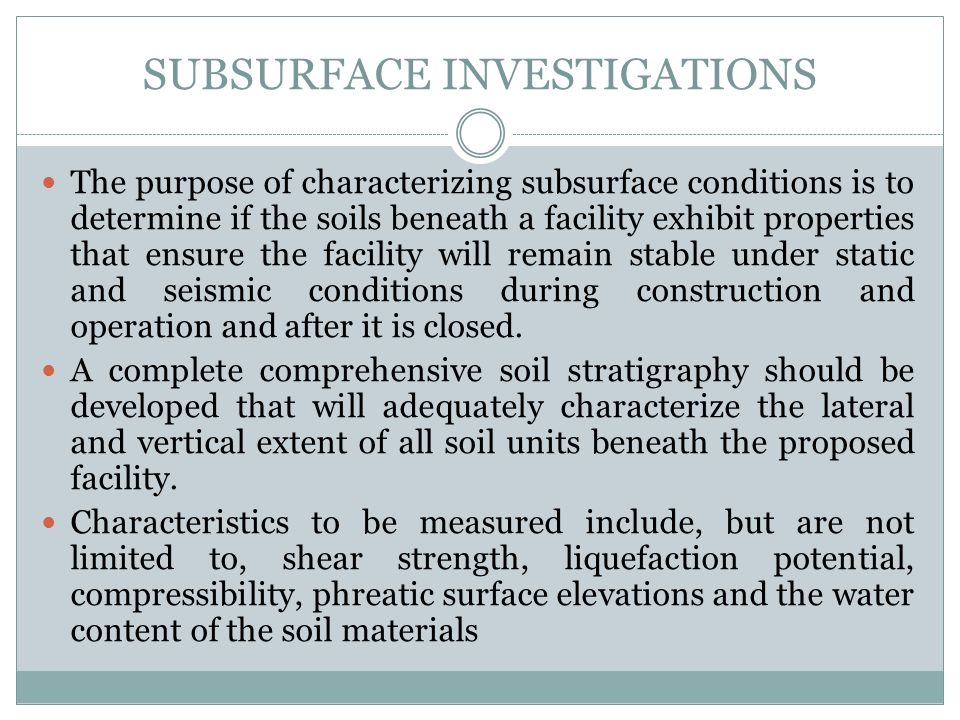 SUBSURFACE INVESTIGATIONS