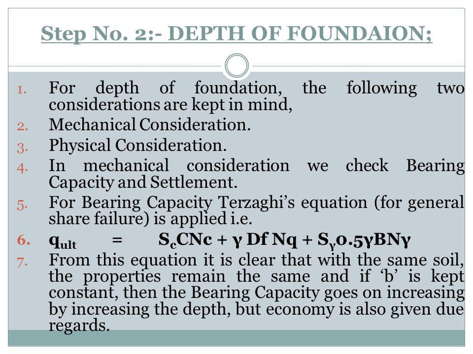 Step No. 2:- DEPTH OF FOUNDAION;