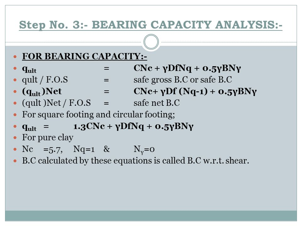 Step No. 3:- BEARING CAPACITY ANALYSIS:-