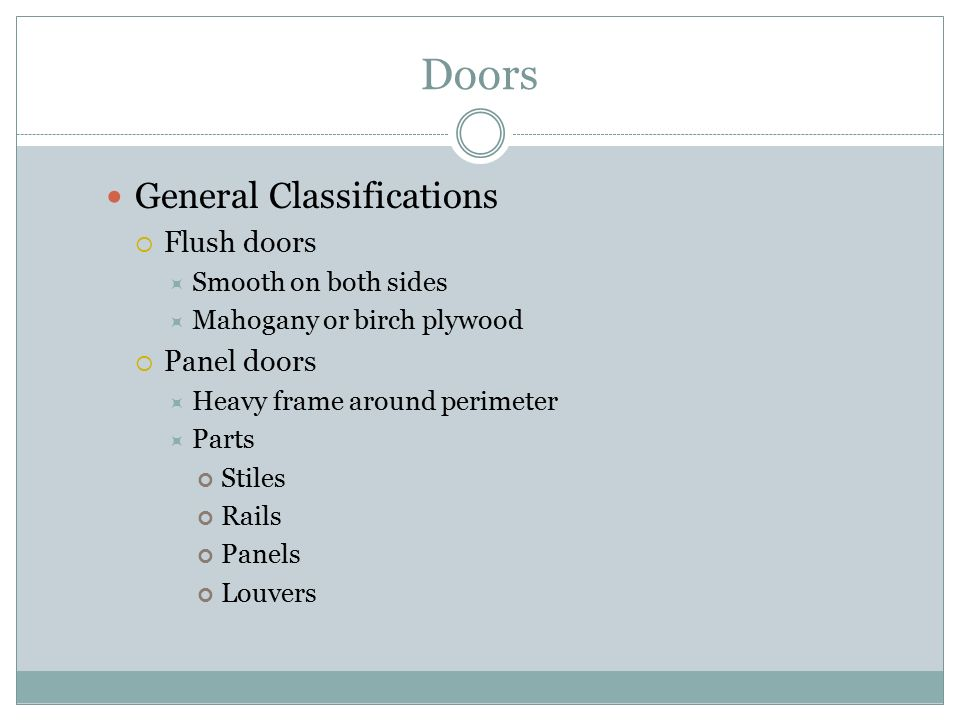 Doors General Classifications Flush doors Panel doors