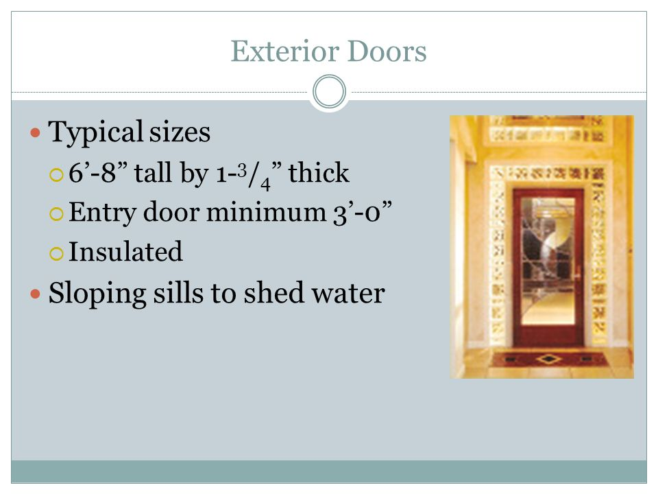 Exterior Doors Typical sizes Sloping sills to shed water