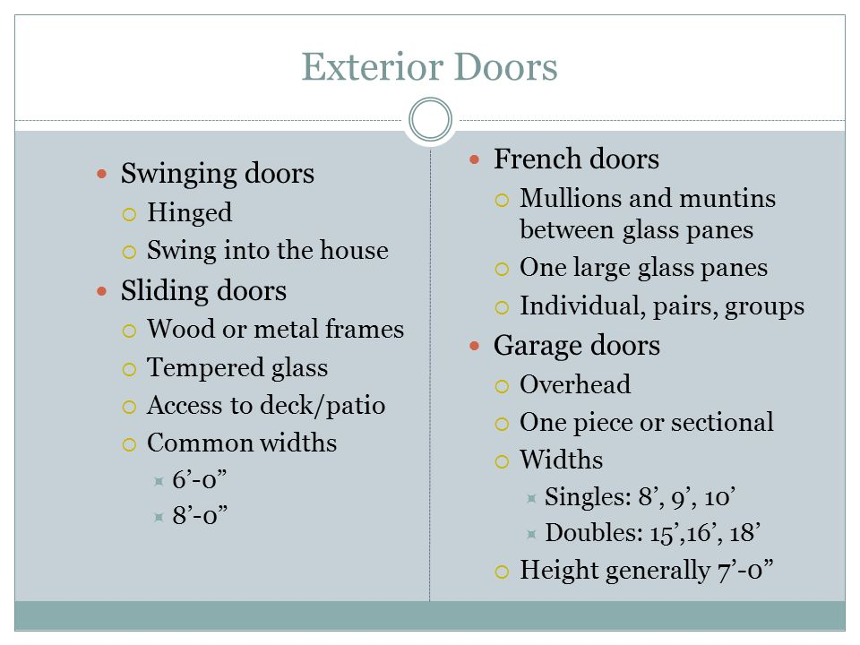 Exterior Doors French doors Swinging doors Sliding doors Garage doors