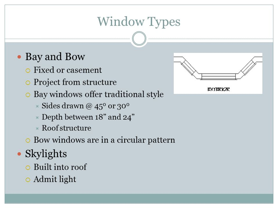Window Types Bay and Bow Skylights Fixed or casement