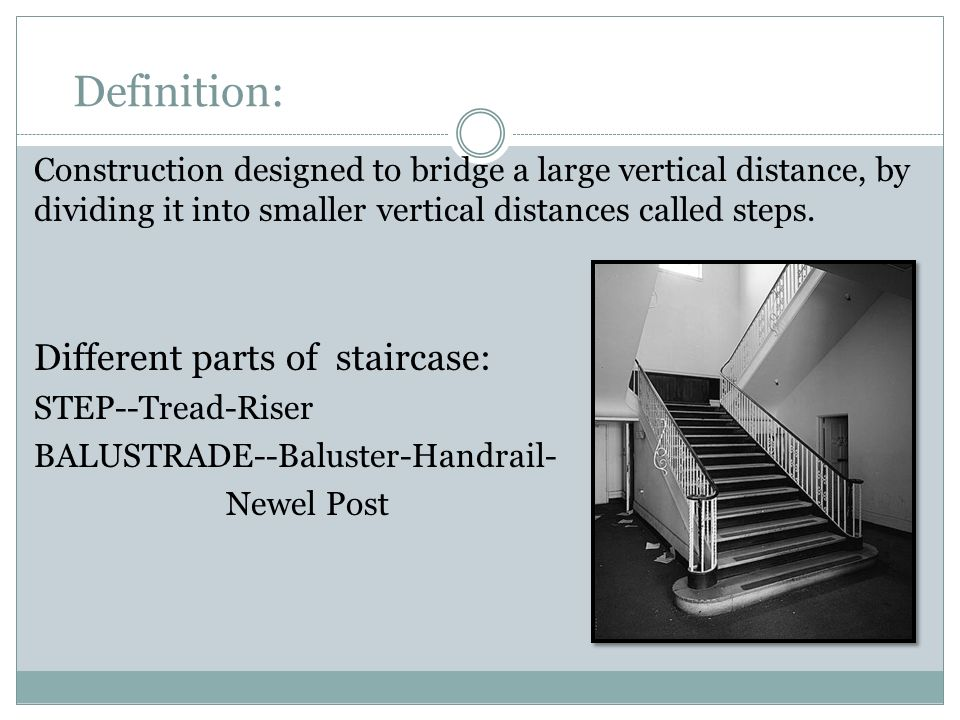Definition: Different parts of staircase: