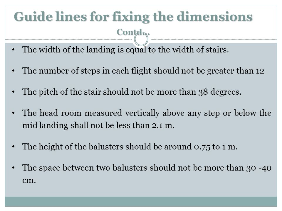 Guide lines for fixing the dimensions Contd…