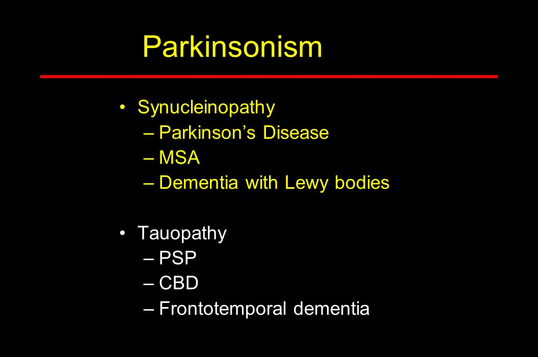 Parkinsonism Synucleinopathy Parkinson's Disease MSA