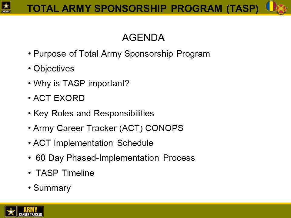 total army sponsorship program (tasp) - ppt download, Powerpoint templates