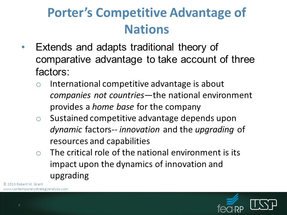 porter's competitive advantage of nations diamond The present study applies porter's diamond framework, which identifies the sources of international competitive advantage for particular industries in a country, to the case of greece the diamond framework and porter's work on the  11 the competitive advantage of nations: the diamond framework and.