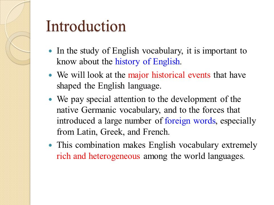 An Introduction To The History Of English Language  Essay Example  An Introduction To The History Of English Language